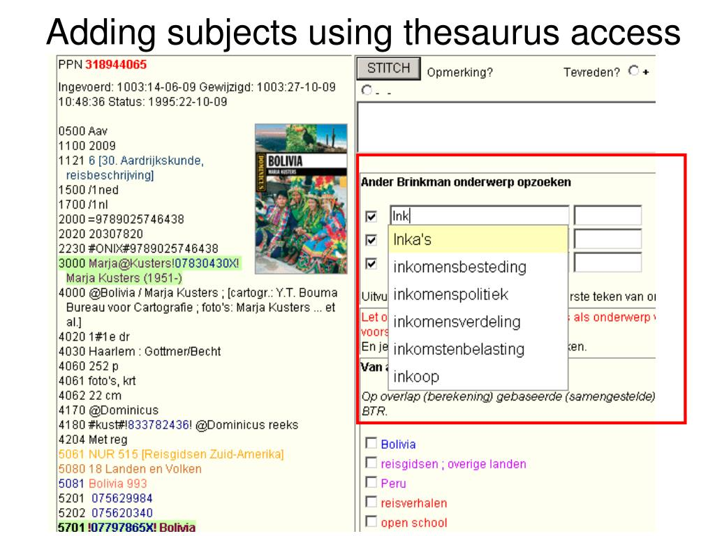 Adding subjects using thesaurus access