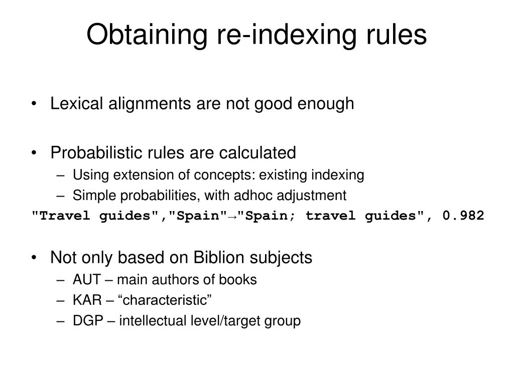 Obtaining re-indexing rules