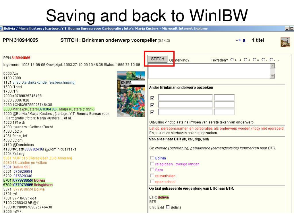 Saving and back to WinIBW