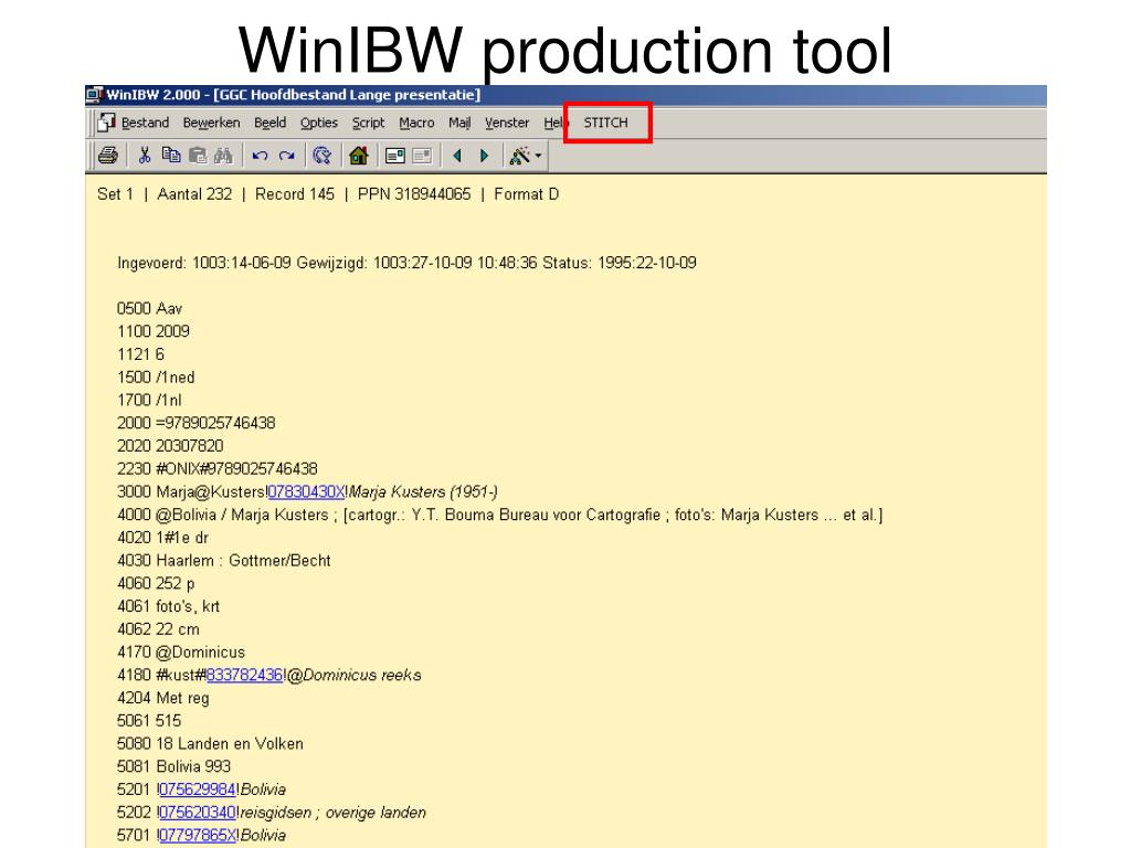 WinIBW production tool