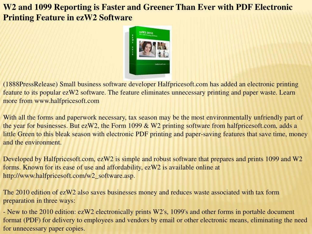 W2 and 1099 Reporting is Faster and Greener Than Ever with PDF Electronic Printing Feature in ezW2 Software