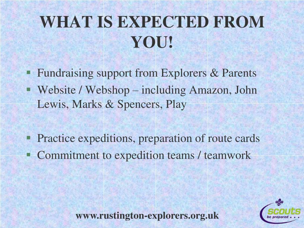 WHAT IS EXPECTED FROM YOU!