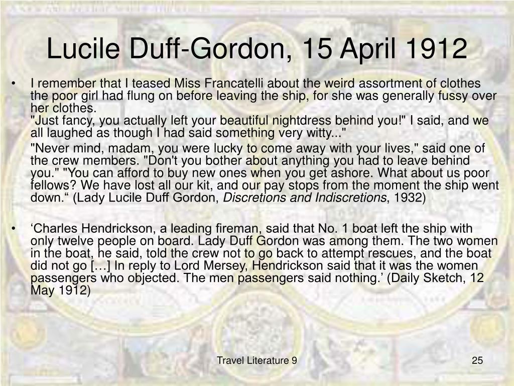 Lucile Duff-Gordon, 15 April 1912