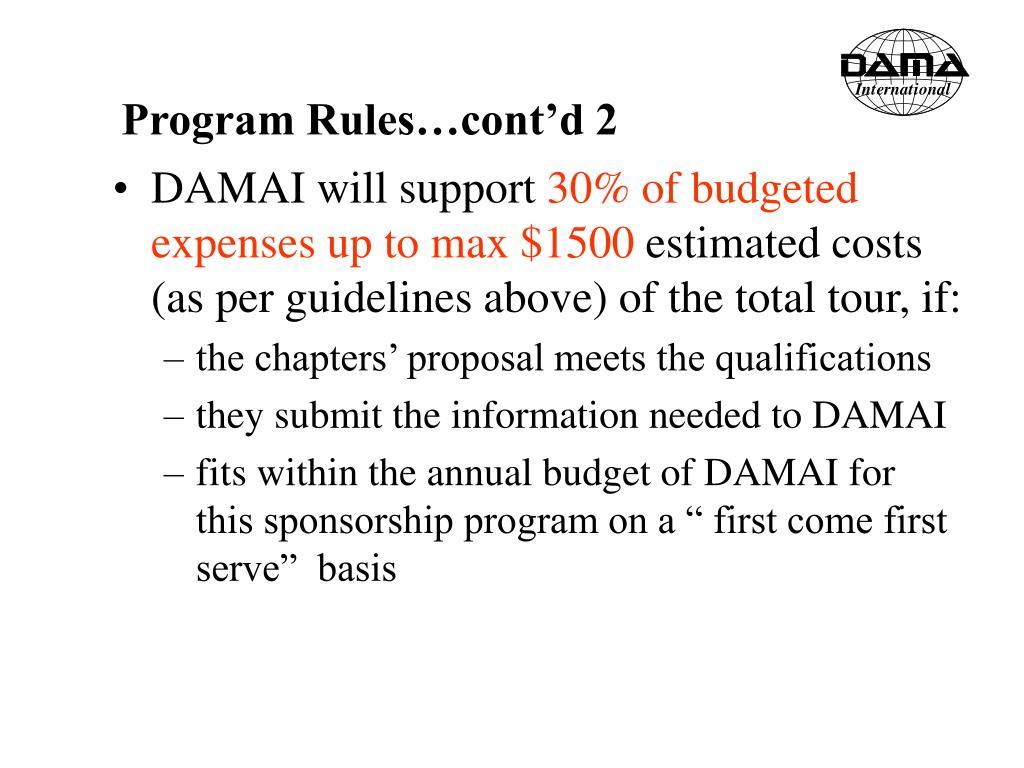 Program Rules…cont'd 2