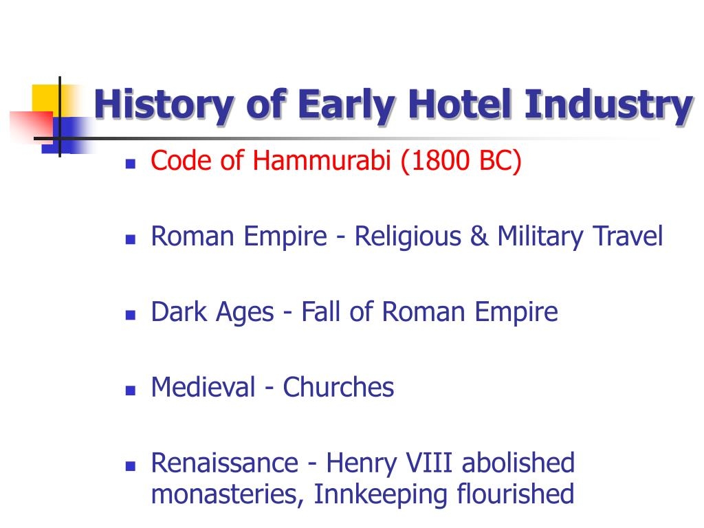 History of Early Hotel Industry