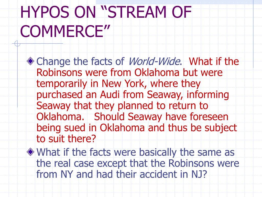 "HYPOS ON ""STREAM OF COMMERCE"""