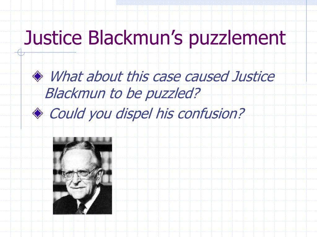 Justice Blackmun's puzzlement