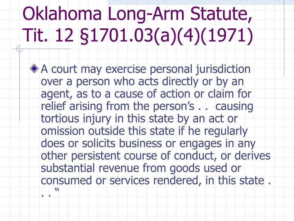 Oklahoma Long-Arm Statute, Tit. 12