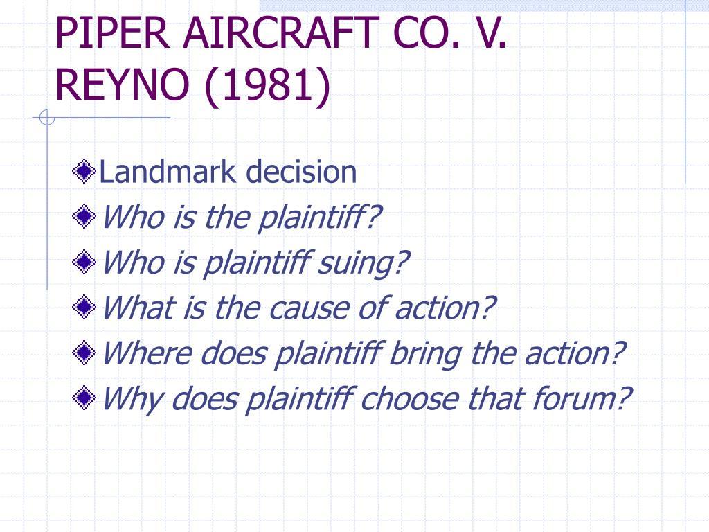 PIPER AIRCRAFT CO. V. REYNO (1981)