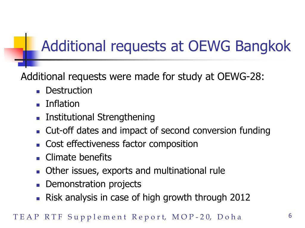 Additional requests at OEWG Bangkok