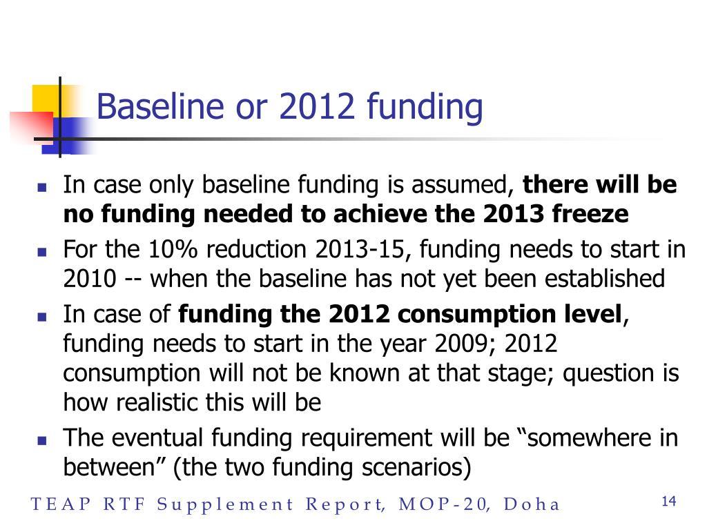 Baseline or 2012 funding