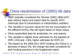 china resubmission of 2005 06 data