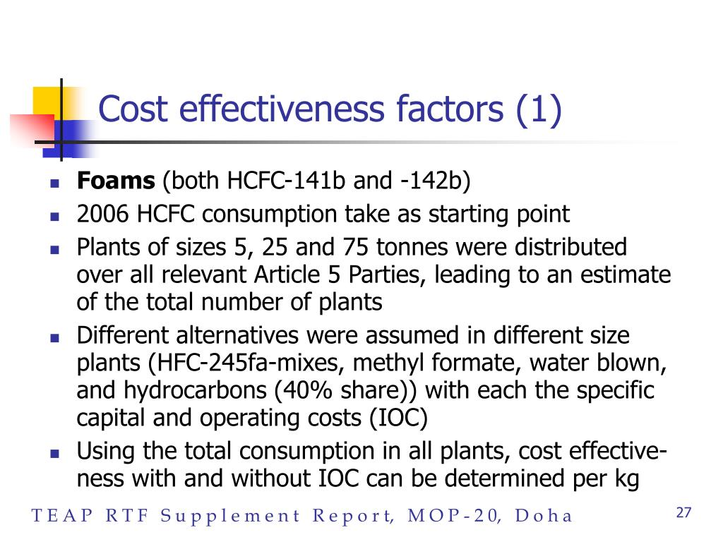 Cost effectiveness factors (1)
