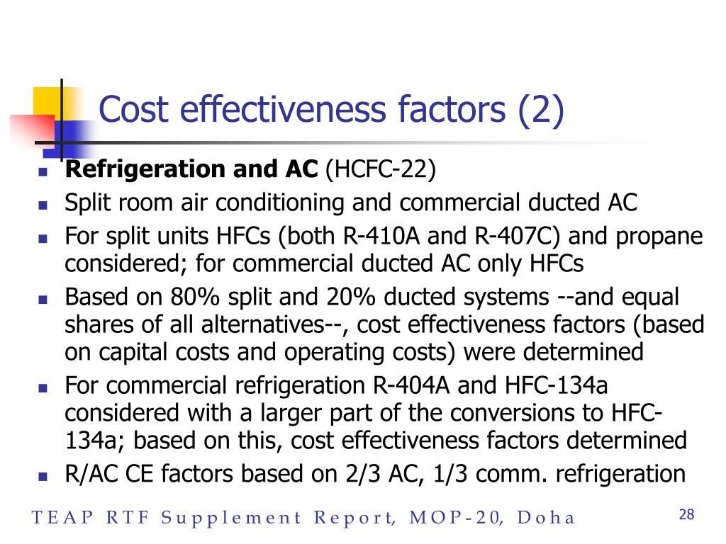 Cost effectiveness factors (2)