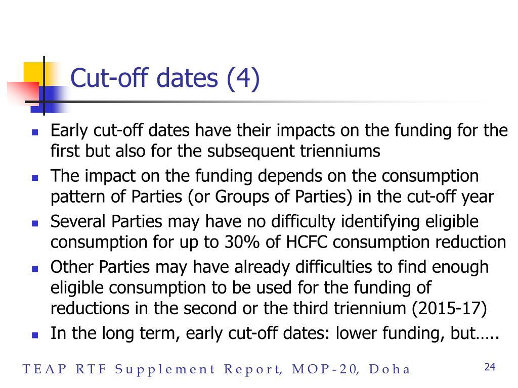 Cut-off dates (4)
