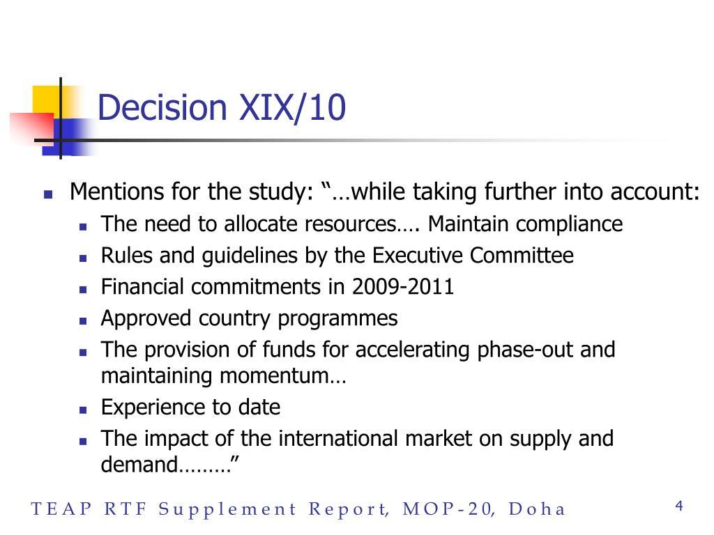 Decision XIX/10