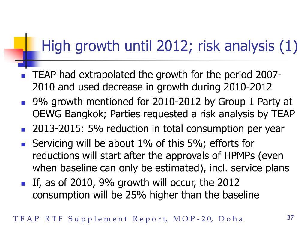 High growth until 2012; risk analysis (1)