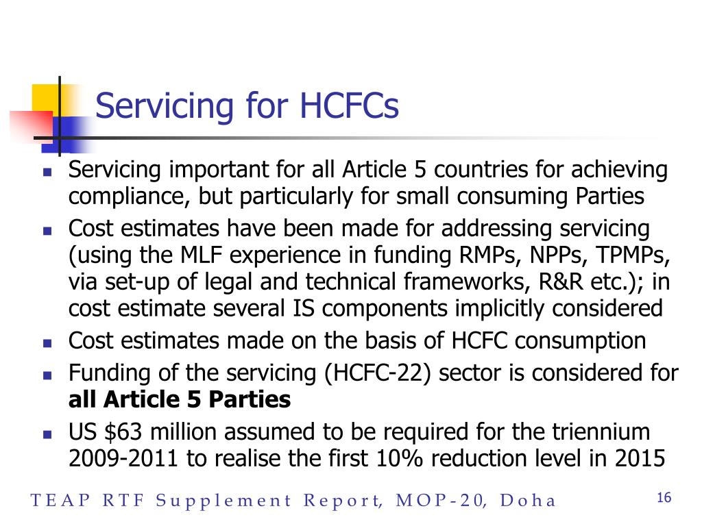 Servicing for HCFCs