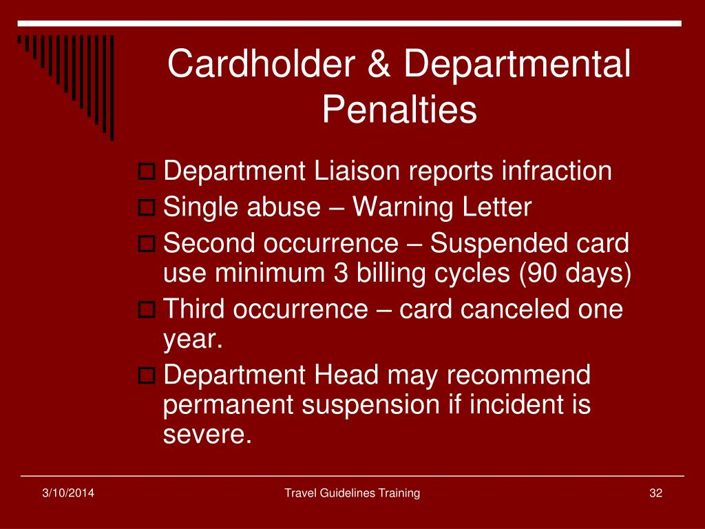 Cardholder & Departmental Penalties