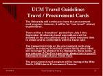ucm travel guidelines travel procurement cards