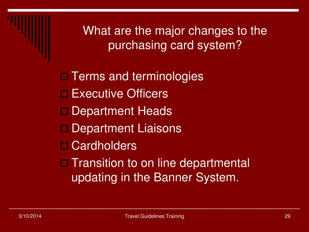 What are the major changes to the purchasing card system?