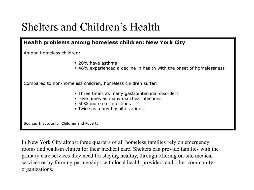 Shelters and Children's Health