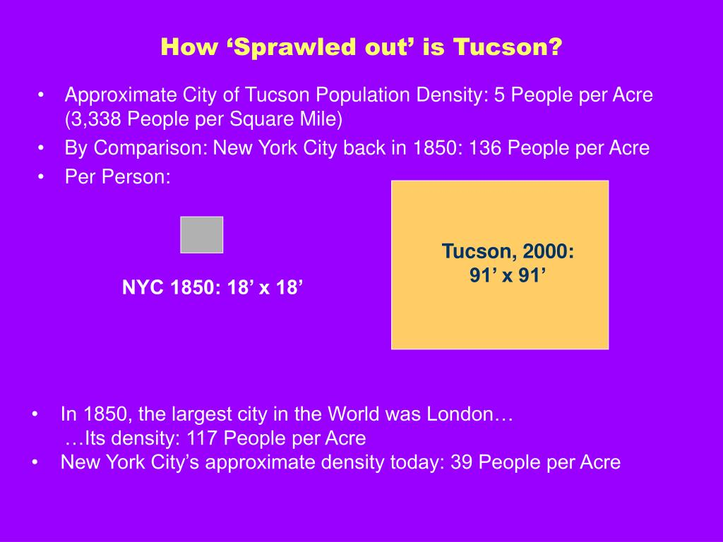 How 'Sprawled out' is Tucson?