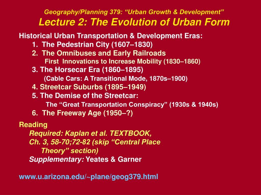 "Geography/Planning 379: ""Urban Growth & Development"""