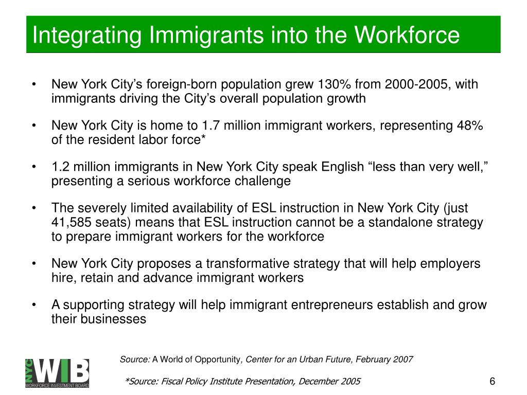 Integrating Immigrants into the Workforce