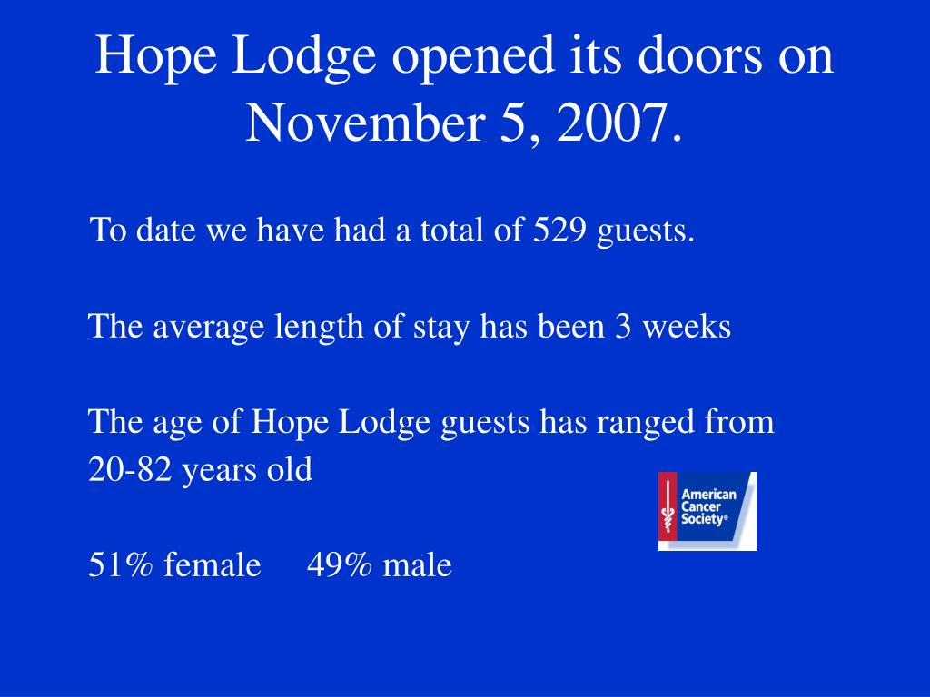 Hope Lodge opened its doors on November 5, 2007.