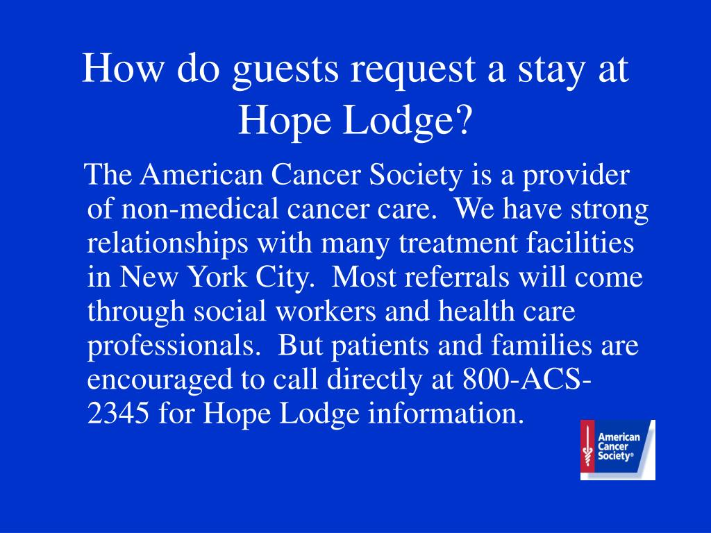 How do guests request a stay at Hope Lodge?