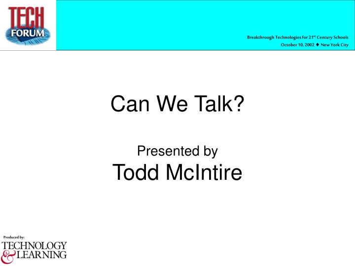 Can we talk presented by todd mcintire