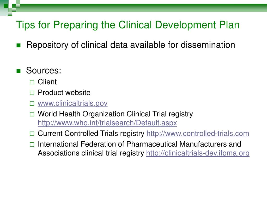 Tips for Preparing the Clinical Development Plan