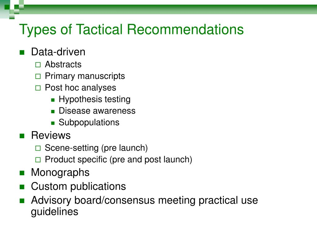 Types of Tactical Recommendations