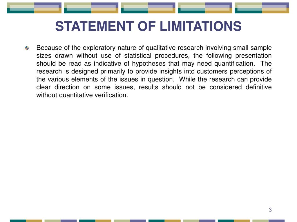 STATEMENT OF LIMITATIONS
