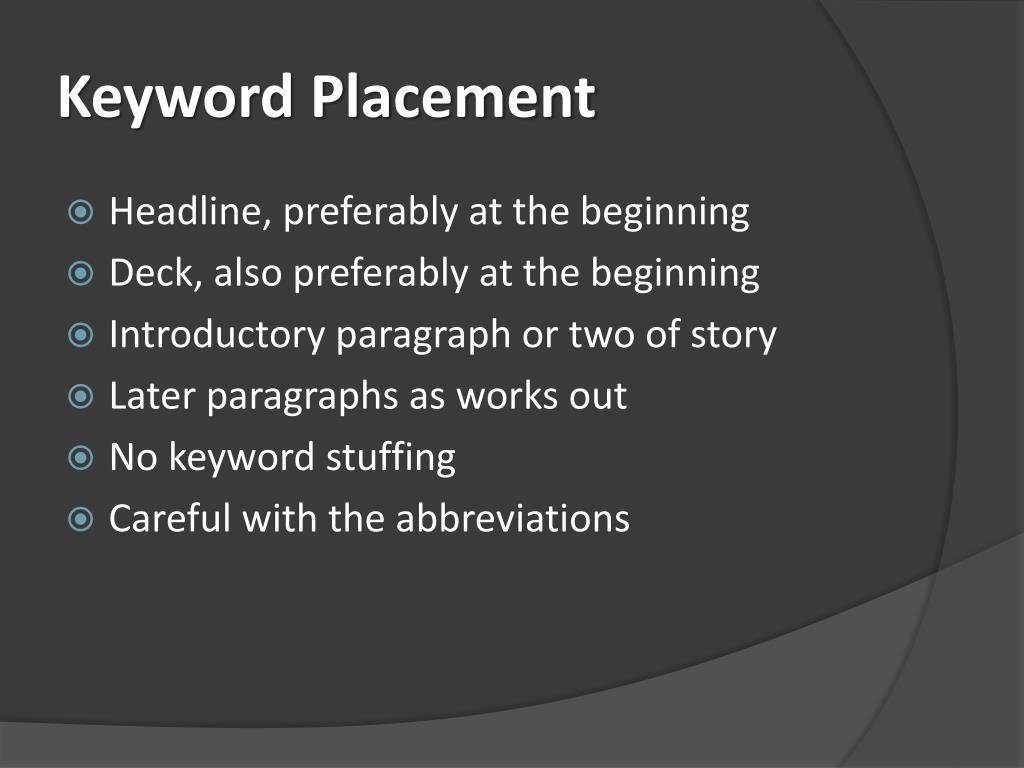 Keyword Placement