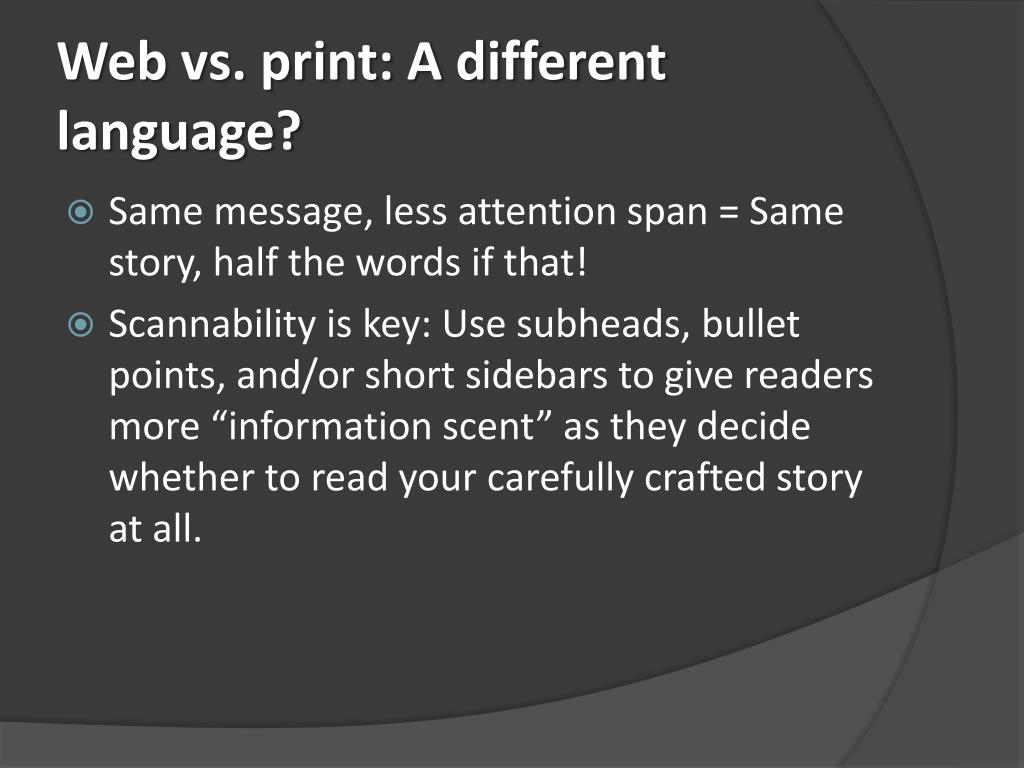 Web vs. print: A different language?