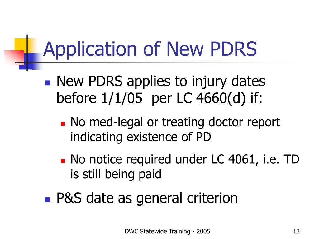 Application of New PDRS