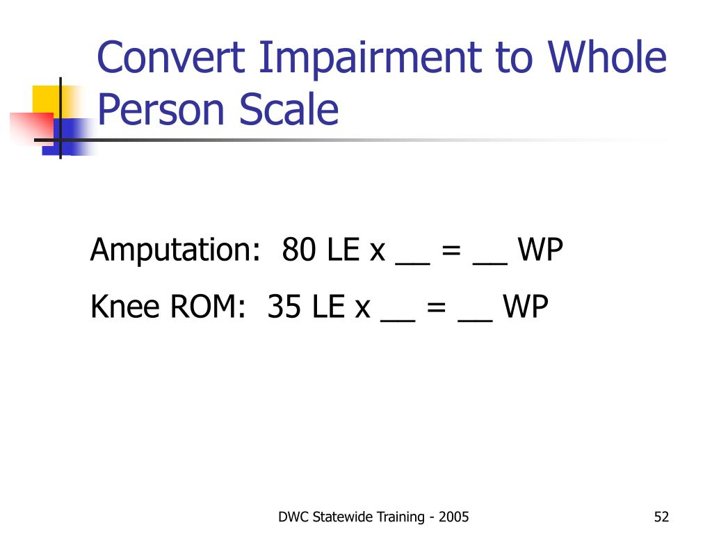 Convert Impairment to Whole Person Scale