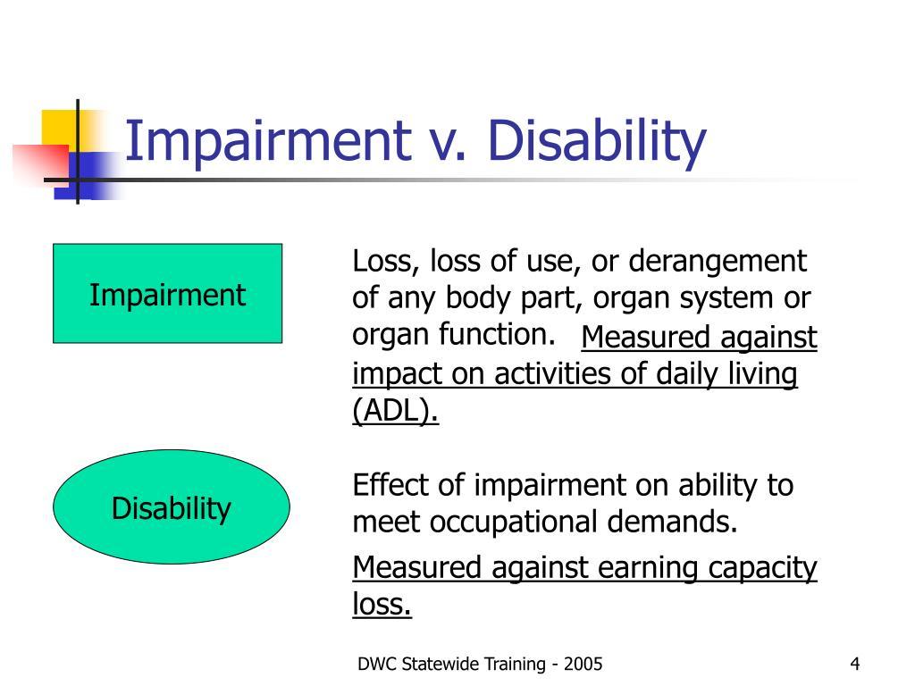 Impairment v. Disability