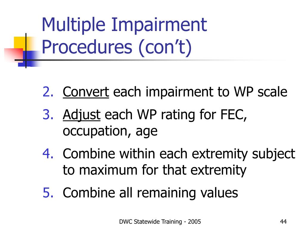 Multiple Impairment Procedures (con't)