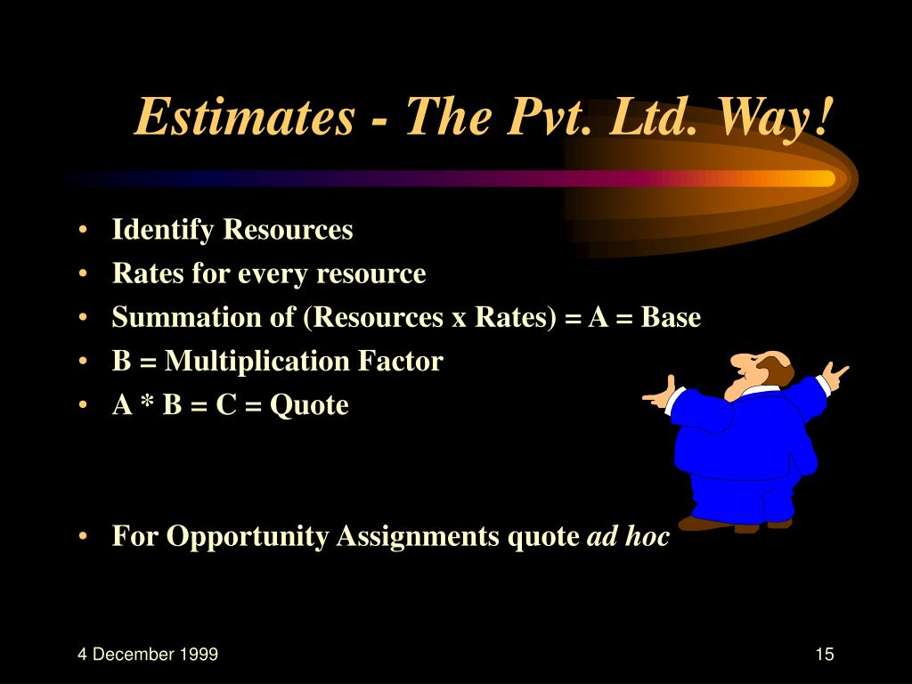 Estimates - The Pvt. Ltd. Way!