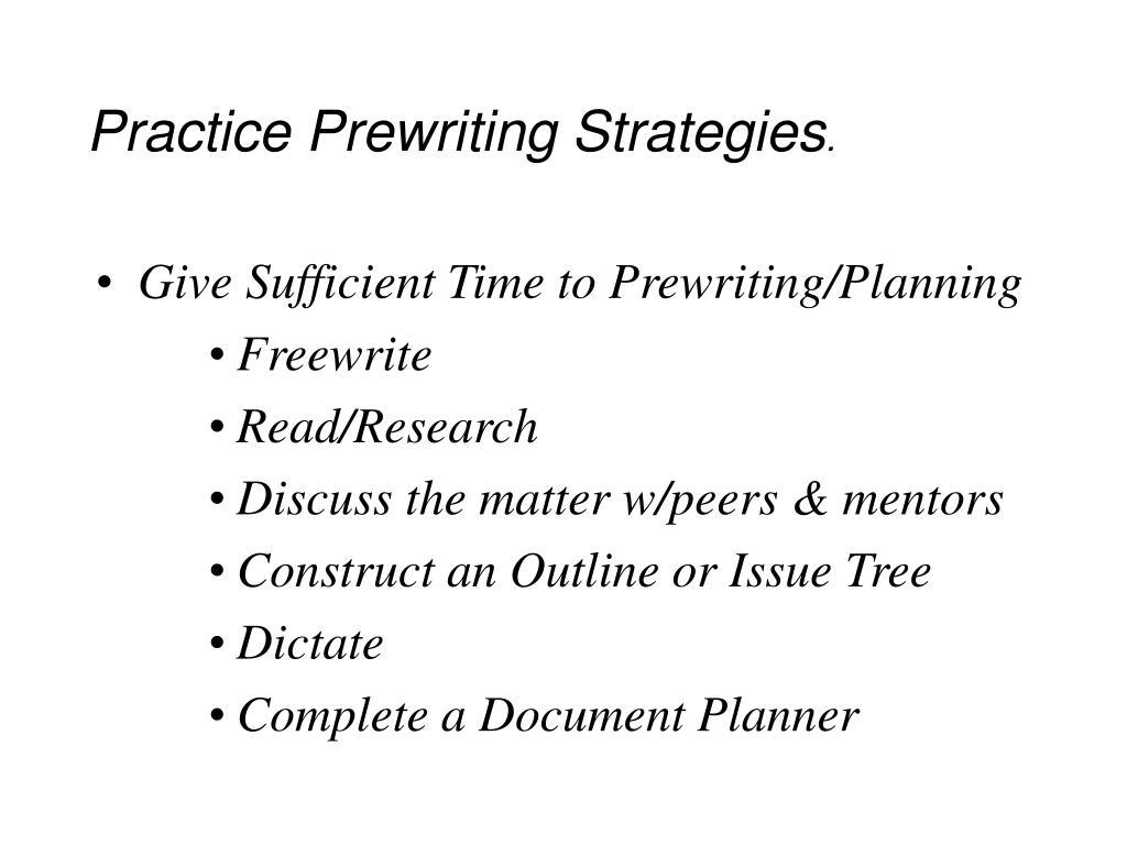 Practice Prewriting Strategies