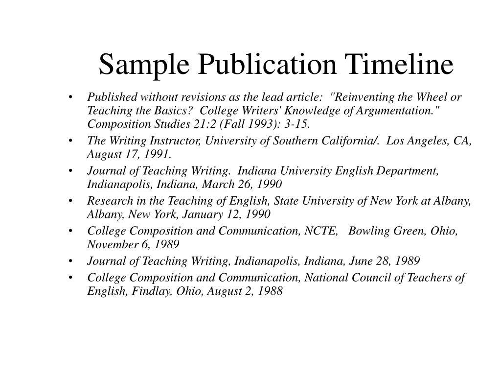 Sample Publication Timeline