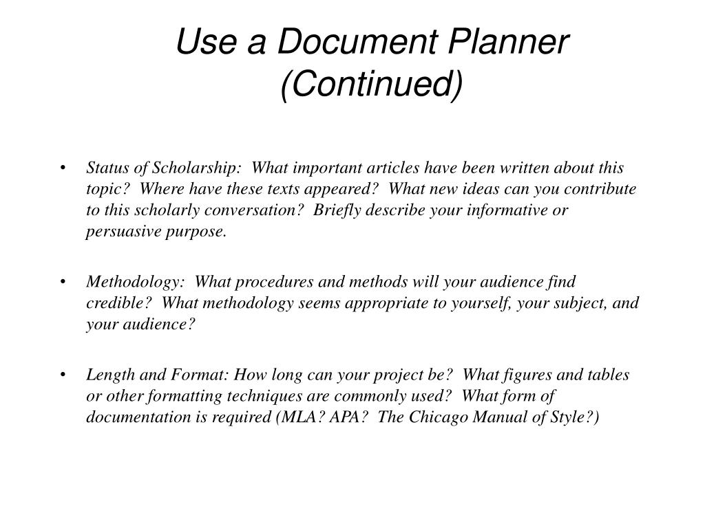 Use a Document Planner (Continued)