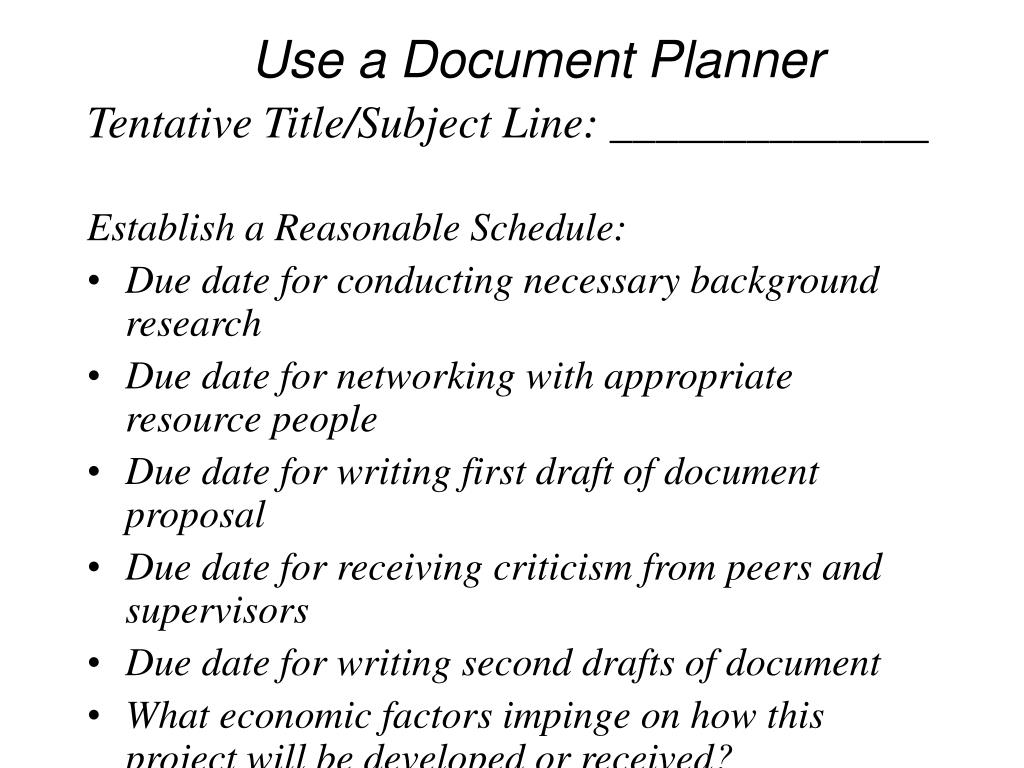 Use a Document Planner
