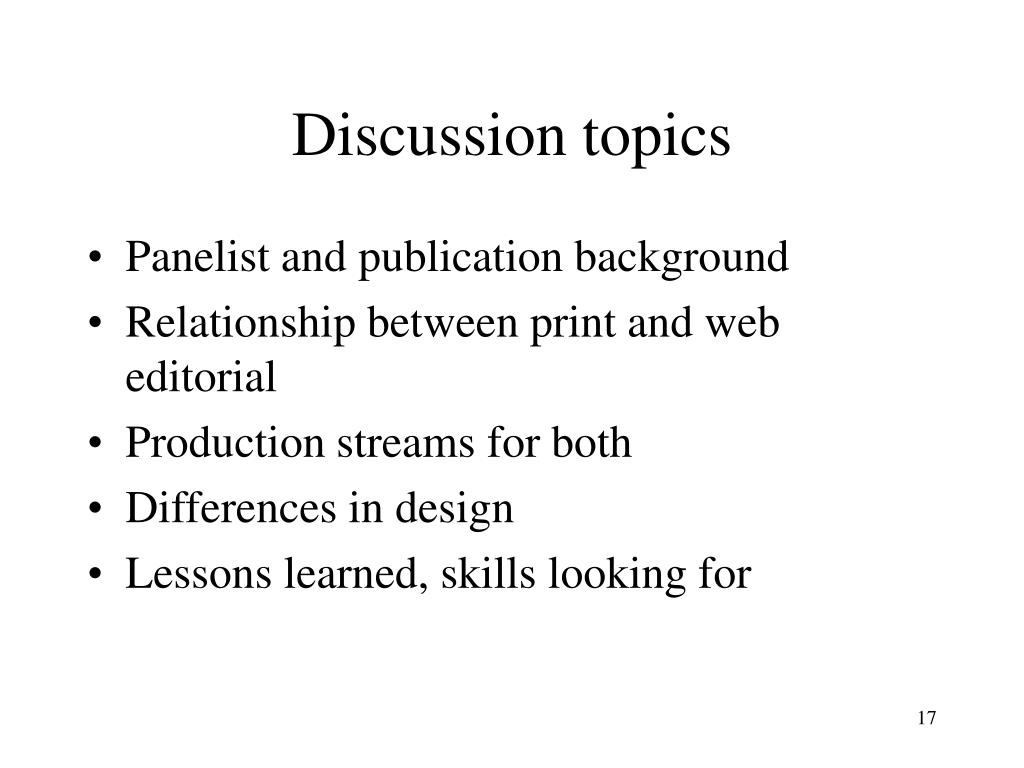 Discussion topics