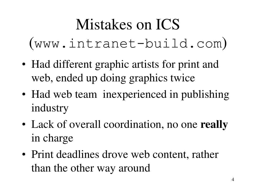 Mistakes on ICS (