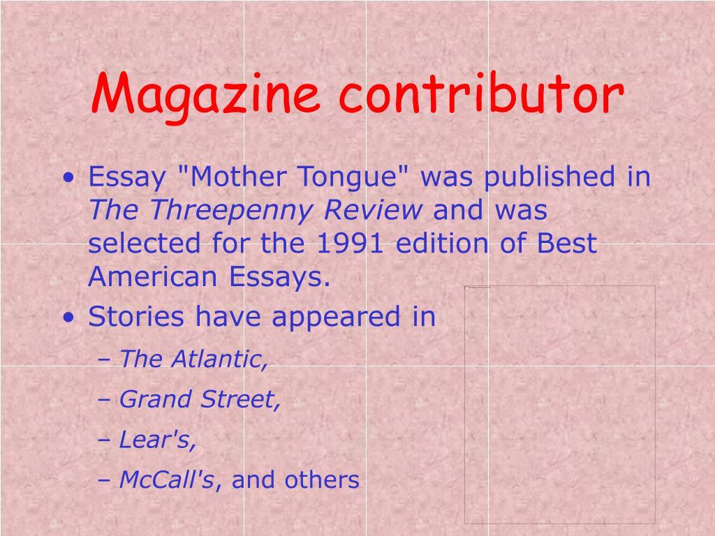 Magazine contributor
