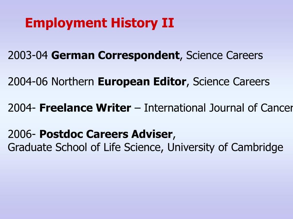 Employment History II